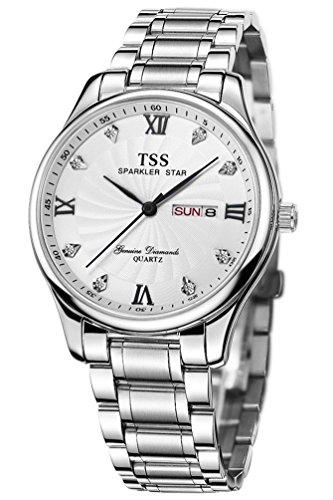 TSS Herren s weiss Zifferblatt schwarz Hand silber Edelstahl Band Quarz Uhrwerk Armbanduhr