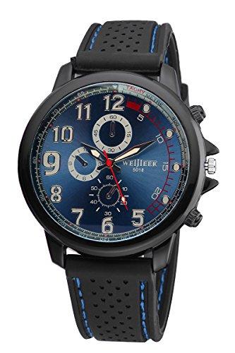Weijieer Militaer Pilot Armee Art Silikon Maenner Outdoor Uhr Blau