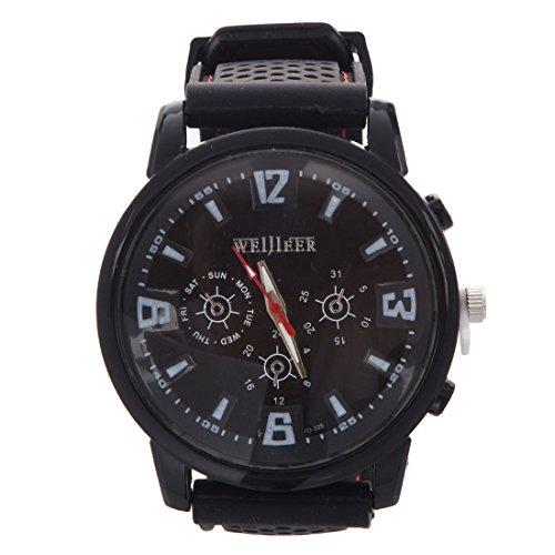 Weijieer Silikon Herren Outdoor Sport Armbanduhr Schwarz