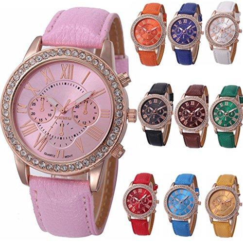 yunan 10 Stueck Damen Kleid Uhren Armband Geneva roemischen Ziffern Herren Leder Armbanduhr Casual Diamant