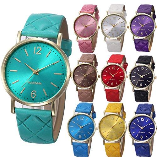 yunan 10 Stueck Damen Herren Unisex Platinum Uhren Geneva roemischen Leder Band Analog