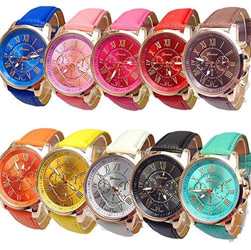 Er yunan 10 Unisex Tally Stil Silikon Armbanduhr Damen Herren Geneva Leder Guertel Gold Sport Armbanduhr