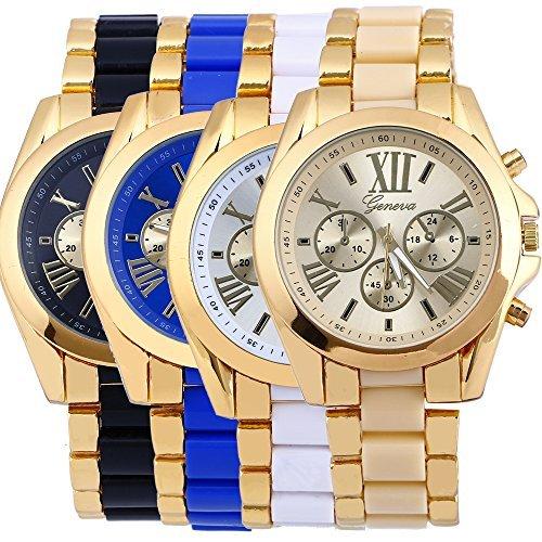 yunan 4er Pack Geneva Damen Herren Unisex Uhren roemische Zahl vergoldet Metall Nylon Link Armbanduhr