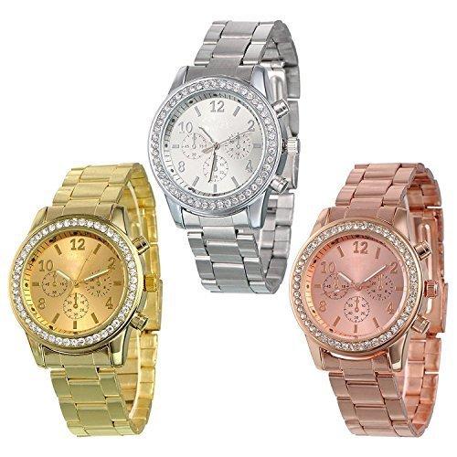 yunan 3 Pack Geneva Silber Gold und Rose vergoldet Klassische Runde CZ Damen Boyfriend Armbanduhr