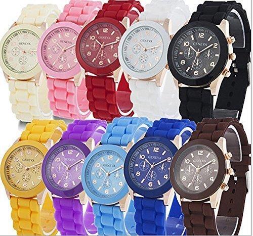 yunan Grosshandel von 10 Pack sortiert Silikon Armbanduhr Geneva s Damen Herren Unisex Jelly Watch