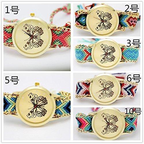 yunan 6er Pack Damen Maedchen Strick geflochten Seil Band Schmetterling Muster Dial Analog Armband Armbanduhr