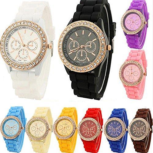 yunan ER Wholesales 10 Unisex Jelly Silikon Armbanduhr fuer Geneva Frauen S GIRL S BOY Herren Childen