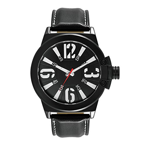 Unlisted Black Polyurethane Leather and Black Brass Mens watch UL1315