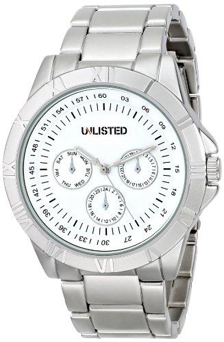 Unlisted UL1274 Herren Stailess Silber Armband Band weisses Zifferblatt Watch