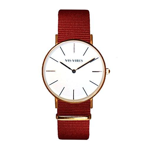 Vis VIRES Damen burgund Rose Gold Uhr die 36 mm