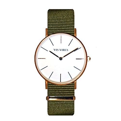 Vis VIRES Damen Khaki Rose Gold Uhr die 36 mm