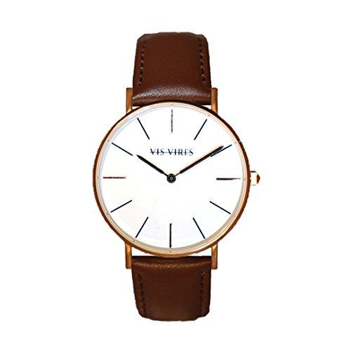 Vis VIRES Herren Rose Gold Chesterfield Uhr die 40 mm
