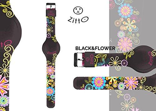 Uhr Zitto klein LED mit Silikonband Limited Edition Black flowerp