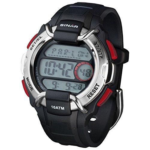 SINAR XA 10 1 Uhr Kautschuk Kunststoff 100m Digital Datum Licht Timer schwarz