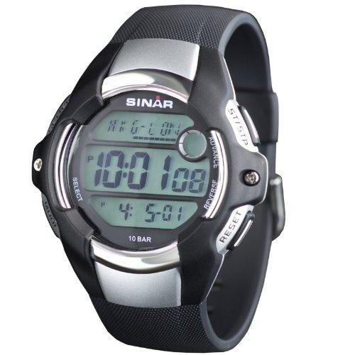 SINAR XA 11 2 Uhr Kautschuk Kunststoff 100m Digital Datum Licht Timer schwarz