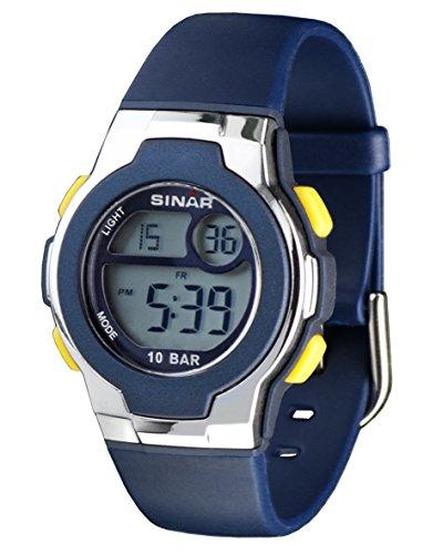 SINAR XF 60 2 Uhr Unisex Kautschuk Kunststoff 100m Digital Datum Licht Alarm Timer blau