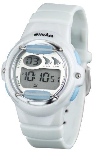 SINAR XF 61 0 Uhr Kautschuk Kunststoff 100m Digital Datum Licht Alarm Timer weiss