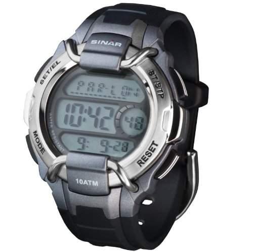 SINAR XA-10-2 Uhr Herrenuhr Kautschuk Kunststoff 100m Digital Datum Licht Timer schwarz