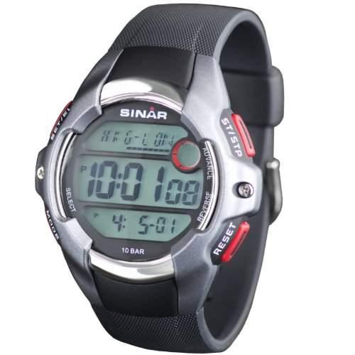 SINAR XA-11-1 Uhr Herrenuhr Kautschuk Kunststoff 100m Digital Datum Licht Timer schwarz
