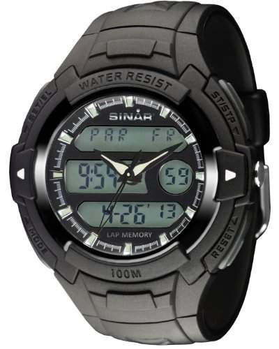 SINAR XAD-15-1 Uhr Herrenuhr Kautschuk Kunststoff 100m Digital Datum Licht Timer schwarz