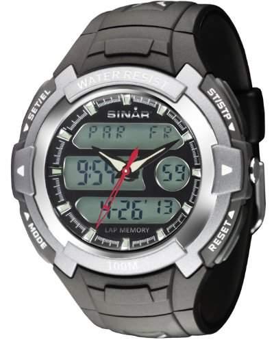 SINAR XAD-15-3 Uhr Herrenuhr Kautschuk Kunststoff 100m Digital Datum Licht Timer schwarz