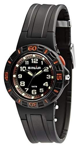 SINAR XB-20-1 Uhr Unisex Kautschuk Kunststoff 100m Analog Licht schwarz