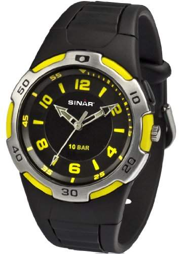 SINAR XB-21-5 Uhr Unisex Kautschuk Kunststoff 100m Analog Licht schwarz