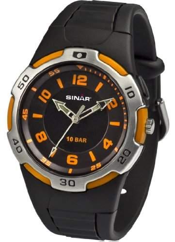 SINAR XB-21-9 Uhr Unisex Kautschuk Kunststoff 100m Analog Licht schwarz