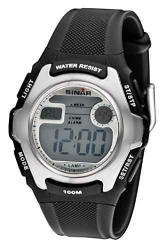 SINAR XE-50-1 Uhr Unisex Kautschuk Kunststoff 100m Digital Datum Licht Alarm Timer schwarz