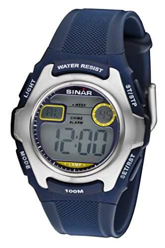 SINAR XE-50-2 Uhr Unisex Kautschuk Kunststoff 100m Digital Datum Licht Alarm Timer blau