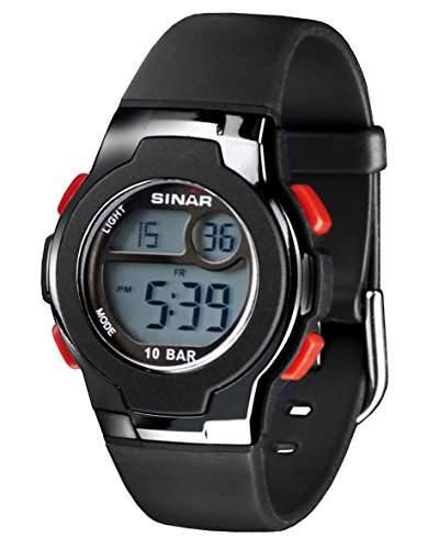 SINAR XF-60-1 Uhr Unisex Kautschuk Kunststoff 100m Digital Datum Licht Alarm Timer schwarz