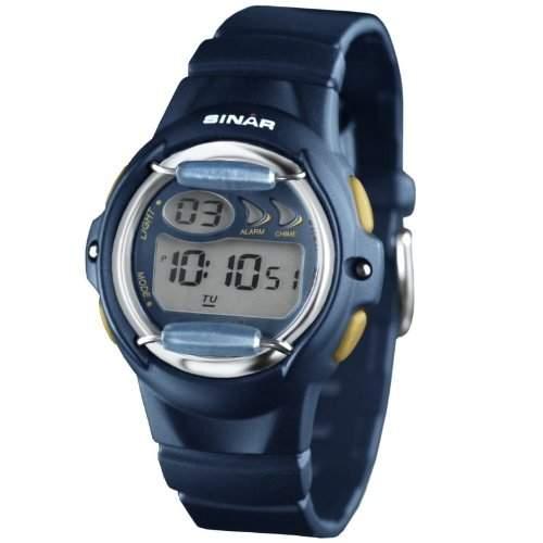 SINAR XF-61-2 Uhr Unisex Kautschuk Kunststoff 100m Digital Datum Licht Alarm Timer blau