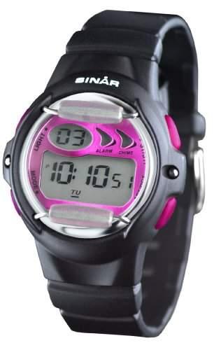 SINAR XF-61-8 Uhr Damenuhr Kautschuk Kunststoff 100m Digital Datum Licht Alarm Timer schwarz