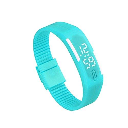 Zolimx Frauen der Maenner Gummi Sport LED Uhr Datum Armband Himmelblau