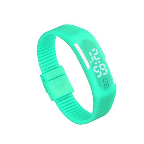 Zolimx Frauen der Maenner Gummi Sport LED Uhr Datum Armband Minzgruen