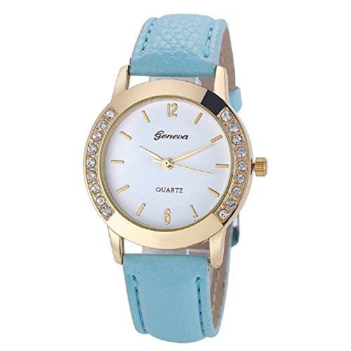 Zolimx Mode Frau Frau Leder Diamant Analog Quarz Armbanduhr Uhren Himmelblau