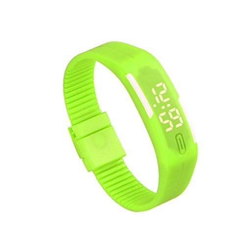Zolimx Frauen der Maenner Gummi Sport LED Uhr Datum Armband Gruen