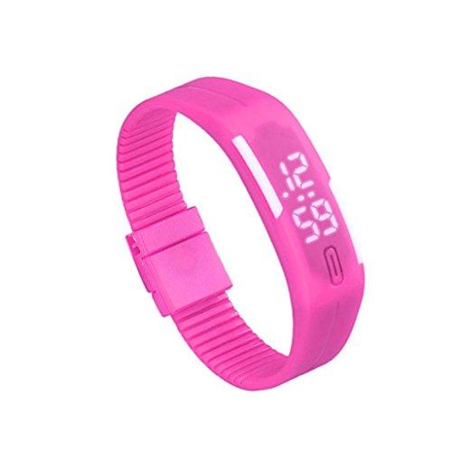 Zolimx Frauen der Maenner Gummi Sport LED Uhr Datum Armband Hot Pink