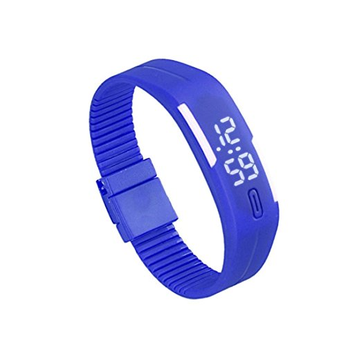 Zolimx Frauen der Maenner Gummi Sport LED Uhr Datum Armband Blau