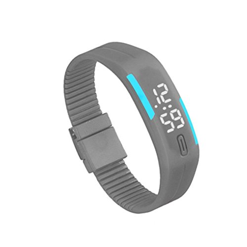 Zolimx Frauen der Maenner Gummi Sport LED Uhr Datum Armband Grau