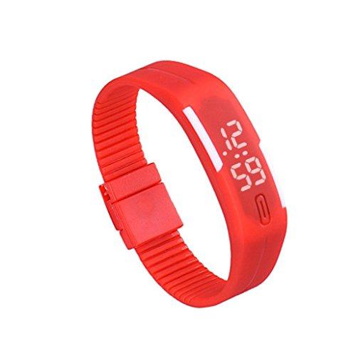 Zolimx Frauen der Maenner Gummi Sport LED Uhr Datum Armband Rot