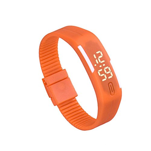 Zolimx Frauen der Maenner Gummi Sport LED Uhr Datum Armband Orange