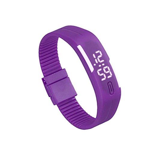 Zolimx Frauen der Maenner Gummi Sport LED Uhr Datum Armband Lila