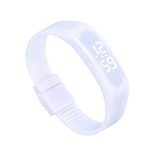Zolimx Frauen der Maenner Gummi Sport LED Uhr Datum Armband Weiss