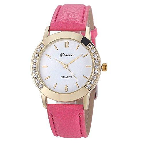 Zolimx Mode Frau Frau Leder Diamant Analog Quarz Armbanduhr Uhren Hot Pink