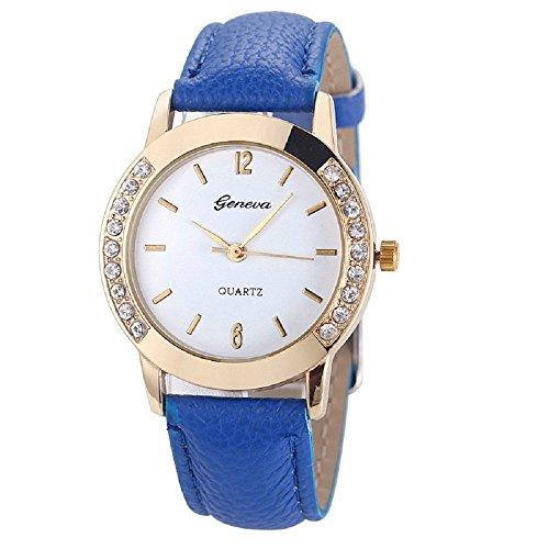 Zolimx Mode Frau Frau Leder Diamant Analog Quarz Armbanduhr Uhren Blau