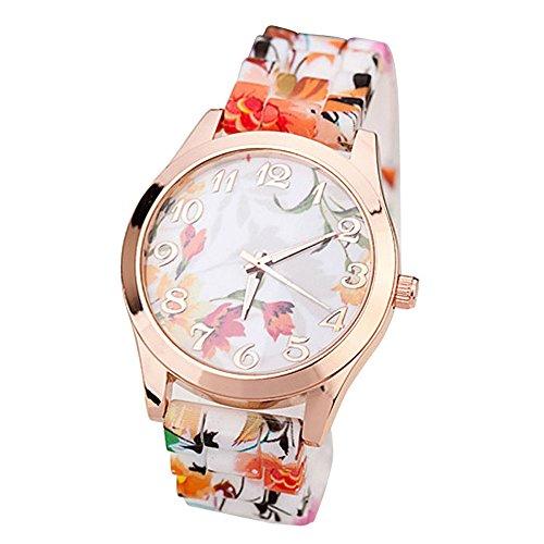 Zolimx Damen Maedchen Uhr Silikon Gedruckte Blumen verursachende en Orange