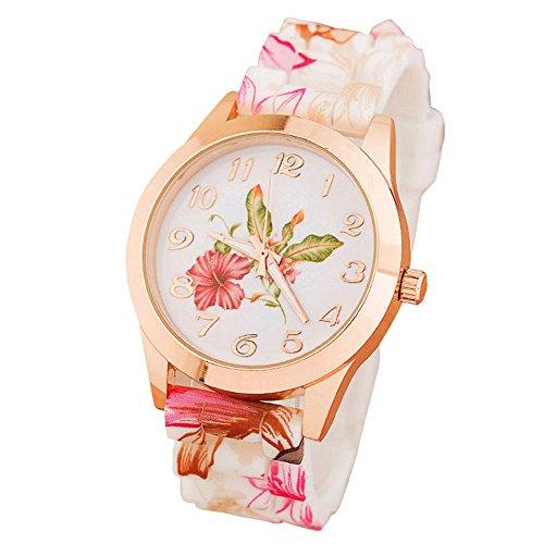 Zolimx Damen Maedchen Uhr Silikon Gedruckte Blumen verursachende en Rose