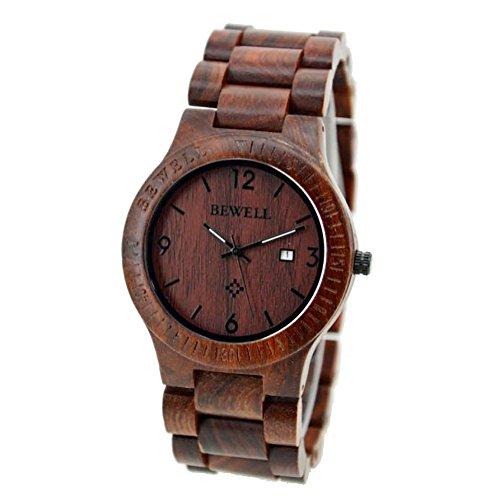 Zolimx Bewell Natuerliche Rosenholz Uhr Herren Handgelenk Quarz Armband Geschaeft Uhren