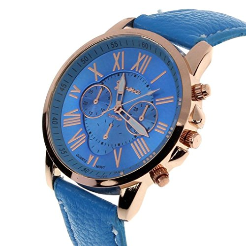 Zolimx Neu Mode Damen Roemisch Ziffern Faux Leder Analog Quartz Armbanduhr Blau